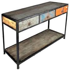industrial console table with drawers industrial museum 3 drawer reclaimed wood iron hall console table