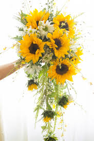 sunflower bouquets cascading bouquet designed with oncidium orchids sunflowers and
