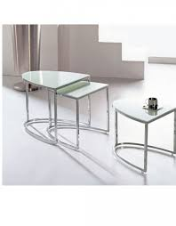 Glass And Chrome Desk Bow Nesting Tables For Apartments Expand Furniture