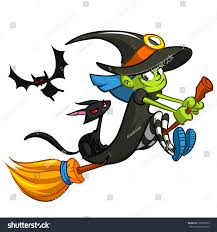 cute witch flying on her broom stock vector 326097953 shutterstock