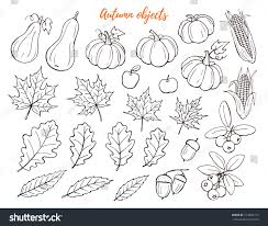 autumn objects hand drawn collection isolated stock vector