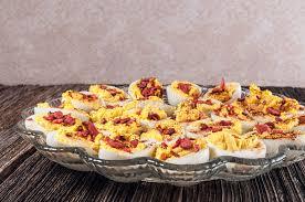 egg platter garnished deviled eggs platter table stock image image of half