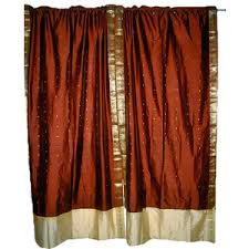 indian sari drapes art silk saree curtains rod pocket curt