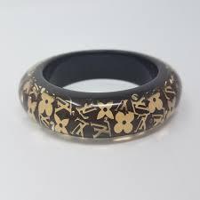 monogram bangle bracelet louis vuitton gold beige brown gold tone inclusion lv monogram