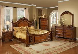 3pc bedroom set with brown cherry finish and gold accent and a