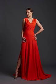 designer kleider elegantes designer kleid high slit flared drop waist gown