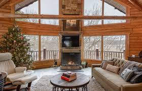 modern design in a northwoods cabin contemporary fireplace