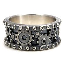 gear wedding ring distressed silver gear ring steunk industrial cogs and rivets