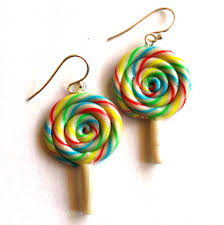 cinnamon bun earrings rainbow lollipop earrings by fatallyfeminine on deviantart