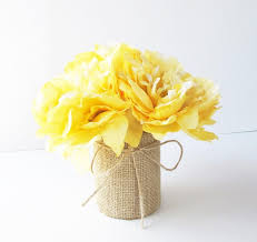 wedding table decor yellow peonies decoration soft yellow