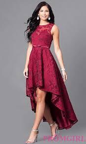 sleeveless high low lace semi formal dress promgirl