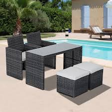Patio Chairs With Ottomans by Outsunny Outdoor Indoor 5pcs Wicker Rattan Coffee Set Garden Patio