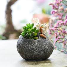 succulent planters tabletop cute bunny rabbit resin flower pot cactus succulent planter