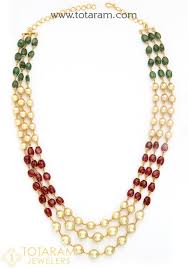 beads gold necklace images 22k gold necklace for women with ruby emerald beads south sea jpg