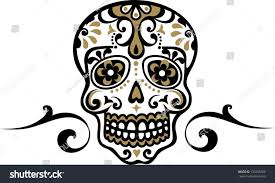 mexican skull flower ornament el dia stock vector 130256282