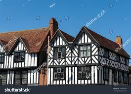 tudor style cottage black white tudor style building stratford stock photo 136480640