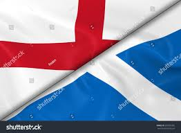 flags england scotland divided diagonally 3d stock illustration