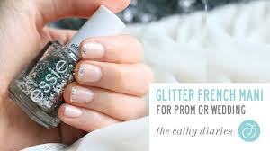 how to do glitter french manicure prom nails youtube