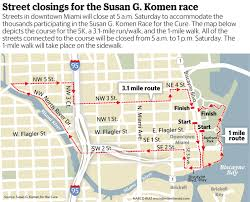 University Of Miami Map by Map Race For The Cure To Cause Downtown Miami Street Closures
