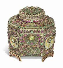 Ottoman Names Casket Jade Panels Inlaid With Gold And Set With Rubies And