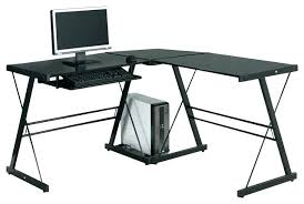 Techni Mobili Graphite Frosted Glass L Shaped Computer Desk Techni Mobili Glass Computer Desk L Shaped Glass Desk Image Of