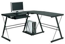 Techni Mobili L Shaped Glass Computer Desk With Chrome Frame Techni Mobili Glass Computer Desk L Shaped Glass Desk Image Of