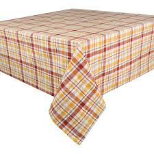 mainstays yellow and orange plaid tablecloth 60 x 102