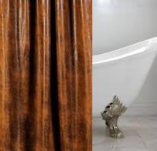 cognac faux leather luxury custom shower curtain