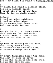 A Place Hymn Adventist Hymnal Song 523 My Faith Has Found A Resting Place