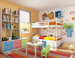 lovely kids bedroom ideas with twin bunk bed and bookcase with