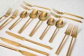 Design For Copper Flatware Ideas Dining Room Gold Plastic Silverware For Dinnerware
