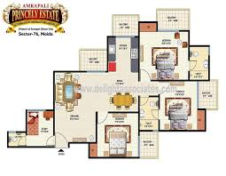 Amrapali Silicon City Floor Plan 3 Bhk Apartments In Sector 76 Noida Delight Associates A Real