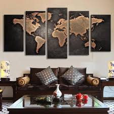 livingroom world 5 pcs modern abstract wall painting world map canvas painting