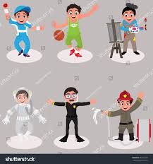set cute kids characters cartoon illustration stock vector