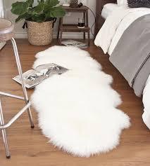 2 X 6 Rug Double Sheepskin Rug White Ivory Lambskin Rug With Long Merino