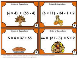 thanksgiving math activities 5th grade order of operations task cards
