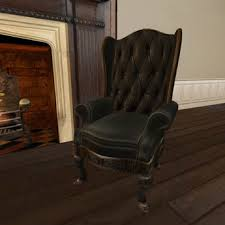 Leather Wing Back Chairs Second Life Marketplace Wing Back Chair In Black Button Leather