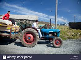 kw tractor tractor transport tory island co donegal ireland stock photo