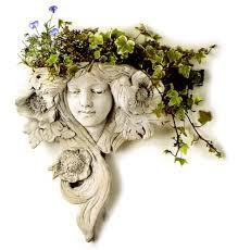art nouveau lady white terracotta wall planter