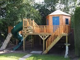 backyard garden playhouse with spiral slide outdoor garden