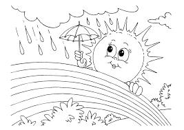 rainbow sun rain coloring pages kids p5