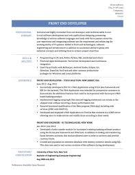 front end developer resume resume front end developer objectivejob sle designer home back