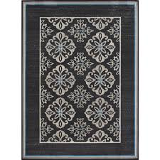 Indoor Outdoor Rugs Home Depot by Hampton Bay Medallion Blue Border Cream Grey 8 Ft X 10 Ft Indoor