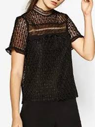 black sheer blouse black sheer lace ruffle trim cut out sleeve blouse top