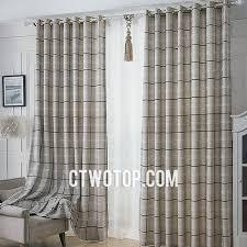 Grommet Burlap Curtains Modern Contemporary Plaid Simple Gray Burlap Curtains