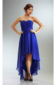 royal blue chiffon bridesmaid dresses fashion high low strapless royal blue chiffon bridesmaid prom dress