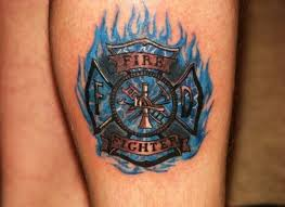 blue ink flaming firefighter ideas