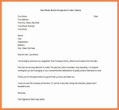 two week resignation letter sample 6 two weeks notice examples