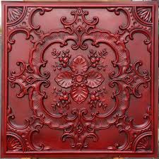 pl19 faux pressed tin ceiling tiles antique red color 3d embossed