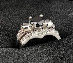 skull wedding ring sets 14k white gold black and white diamond skull engagement ring set